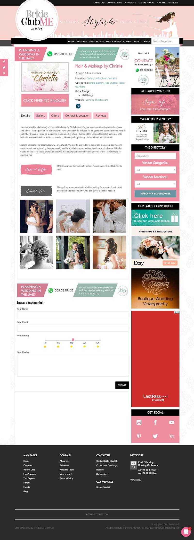 BrideClubMe DirectoryVendor