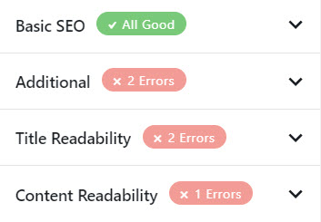 All the tips from RankMath SEO that teach what errors to fix to get closer to that elusive 100% SEO tick list goal.