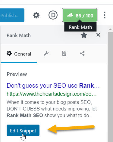 Screenshot sharing how and where to edit the SEO Description Snippet using RankMath.