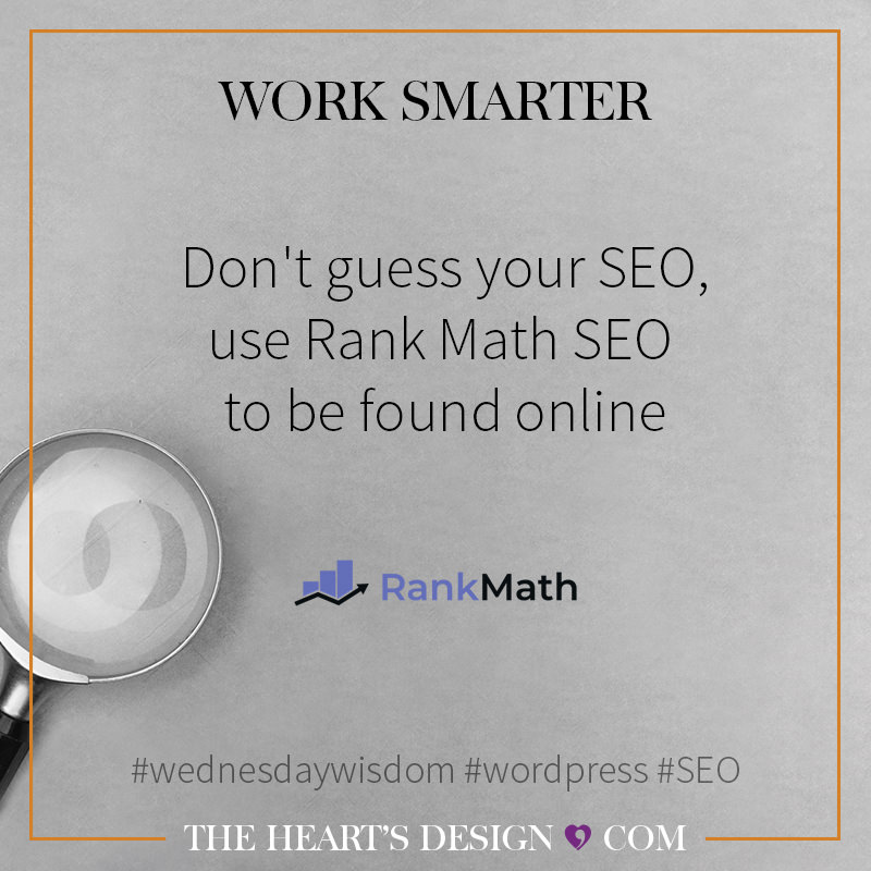 Blog Post Graphic sharing the title Don't guess your SEO, use Rank Math SEO to be found online. A square sharable graphic.