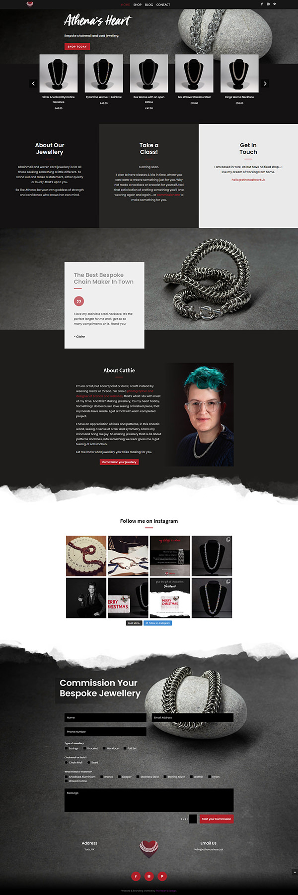 Athena's Heart - Home Page Design